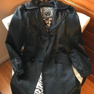 Guess Satin Black Trench Coat - Size Small NWT